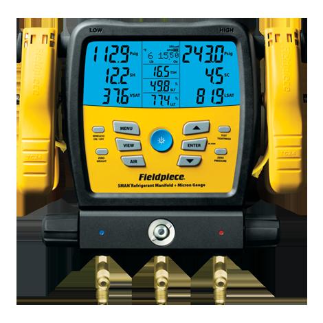 SM380V — Colector de refrigerante SMAN de 3 puertos y micrómetro inalámbrico
