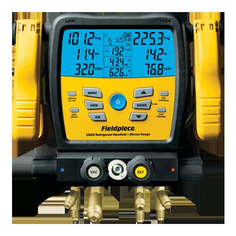 SM480V — Colector de refrigerante SMAN de 4 puertos y micrómetro inalámbrico
